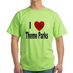 I Love Theme Parks Green T-Shirt