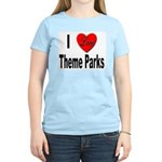 I Love Theme Parks (Front) Women's Pink T-Shirt