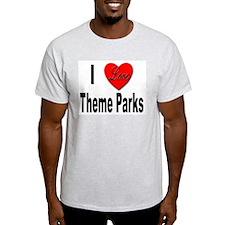 I Love Theme Parks Ash Grey T-Shirt