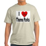 I Love Theme Parks (Front) Ash Grey T-Shirt