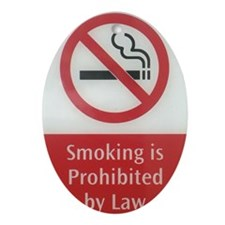 No Smoking Law Oval Ornament