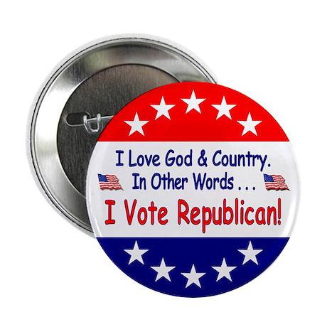 """I Vote Republican 2.25"""" Button"""