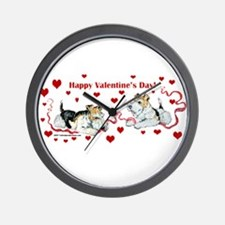 Fox Terrier Holiday Wall Clock
