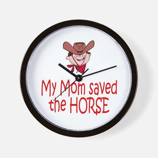 Mom saved the horse - boy Wall Clock