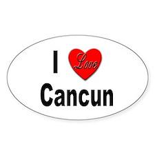I Love Cancun Oval Decal