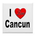 I Love Cancun Tile Coaster