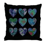 Floral Watercolor Hearts Throw Pillow