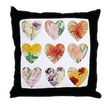 Eleanor's Blooms Nine Heart Throw Pillow