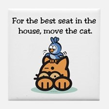 Move The Cat Tile Coaster