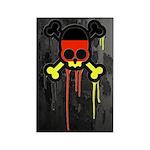 German Punk Skull Rectangle Magnet