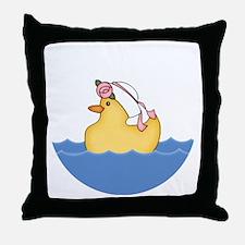 Ducky Girl (bg) Throw Pillow