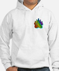 RAINBOW STRIPED PAW/TEAL/SHADOW/PKT Hoodie