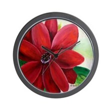 Bright, Bold Red Flower Wall Clock