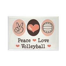 Peace Love Volleyball Rectangle Magnet