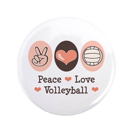"""Peace Love Volleyball 3.5"""" Button"""