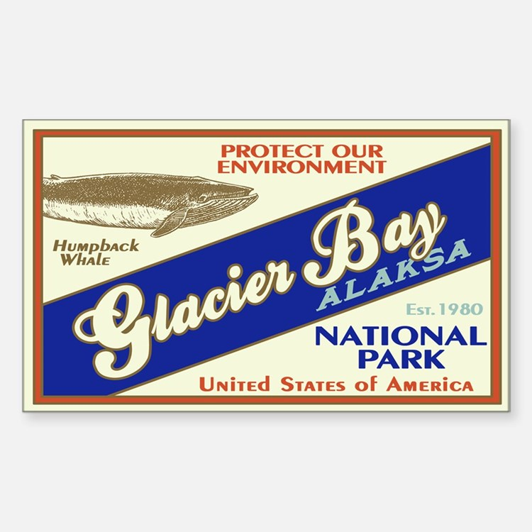 Glacier Bay (Whale) Rectangle Decal