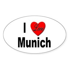 I Love Munich Oval Decal