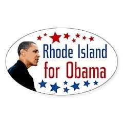 Rhode Island for Obama oval bumpersticker