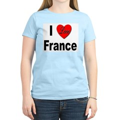 I Love France (Front) Women's Pink T-Shirt