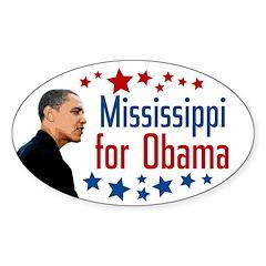 Mississippi for Obama Oval Bumper Decal