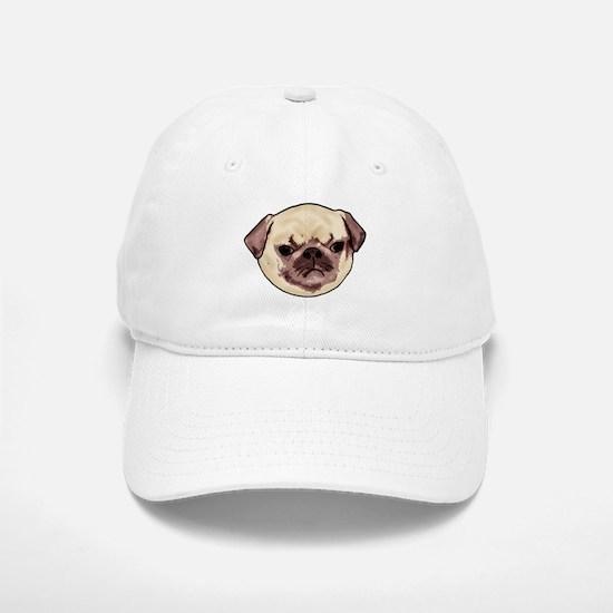 Grumpy Pug Face Baseball Baseball Cap