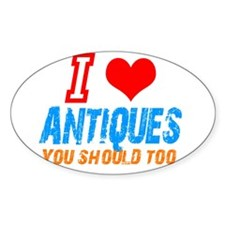 i love Antiques Oval Decal