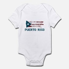 Puerto Rico Grunge Flag Infant Bodysuit