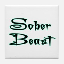 Sober Beast Blue Tile Coaster