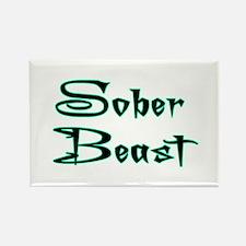 Sober Beast Blue Rectangle Magnet