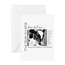 save a life, go vegan Greeting Card