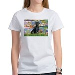 Lilies (#2) & Black Lab Women's T-Shirt