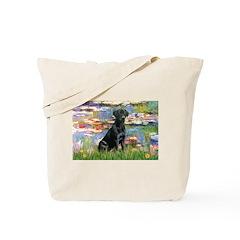 Lilies (#2) & Black Lab Tote Bag