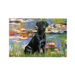 Lilies (#2) & Black Lab Rectangle Magnet (10 pack)