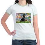 Lilies (#2) & Black Lab Jr. Ringer T-Shirt