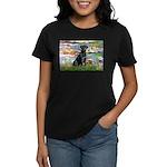 Lilies (#2) & Black Lab Women's Dark T-Shirt