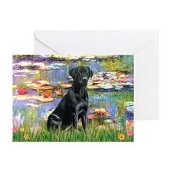 Lilies (#2) & Black Lab Greeting Cards (Pk of 20)