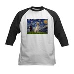 Starry Night Yellow Lab Kids Baseball Jersey