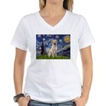 Starry Night Yellow Lab Women's V-Neck T-Shirt
