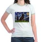 Starry Chocolate Lab Jr. Ringer T-Shirt