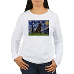 Starry Chocolate Lab Women's Long Sleeve T-Shirt