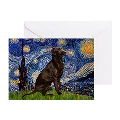 Starry Chocolate Lab Greeting Cards (Pk of 20)