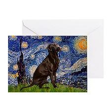 Starry Chocolate Lab Greeting Card