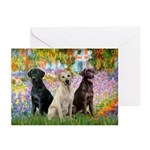 Monet's Garden & Lab Trio Greeting Cards (Pk of 20