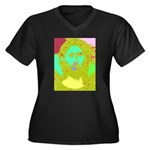 Pastel Jesus Women's Plus Size V-Neck Dark T-Shirt