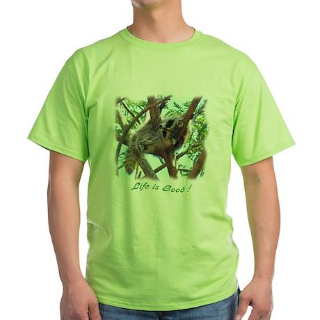 Sleepy Raccoon Green T-Shirt