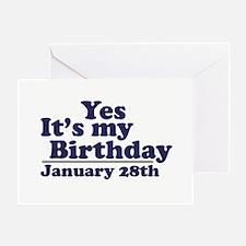 January 28th Birthday Greeting Card