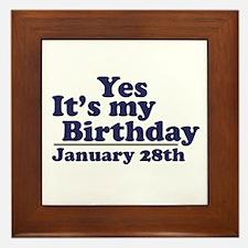 January 28th Birthday Framed Tile