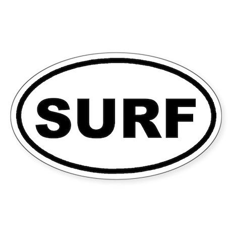 SURF Surfing Euro Oval Sticker