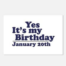 January 20th Birthday Postcards (Package of 8)