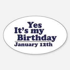 January 12th Birthday Oval Decal